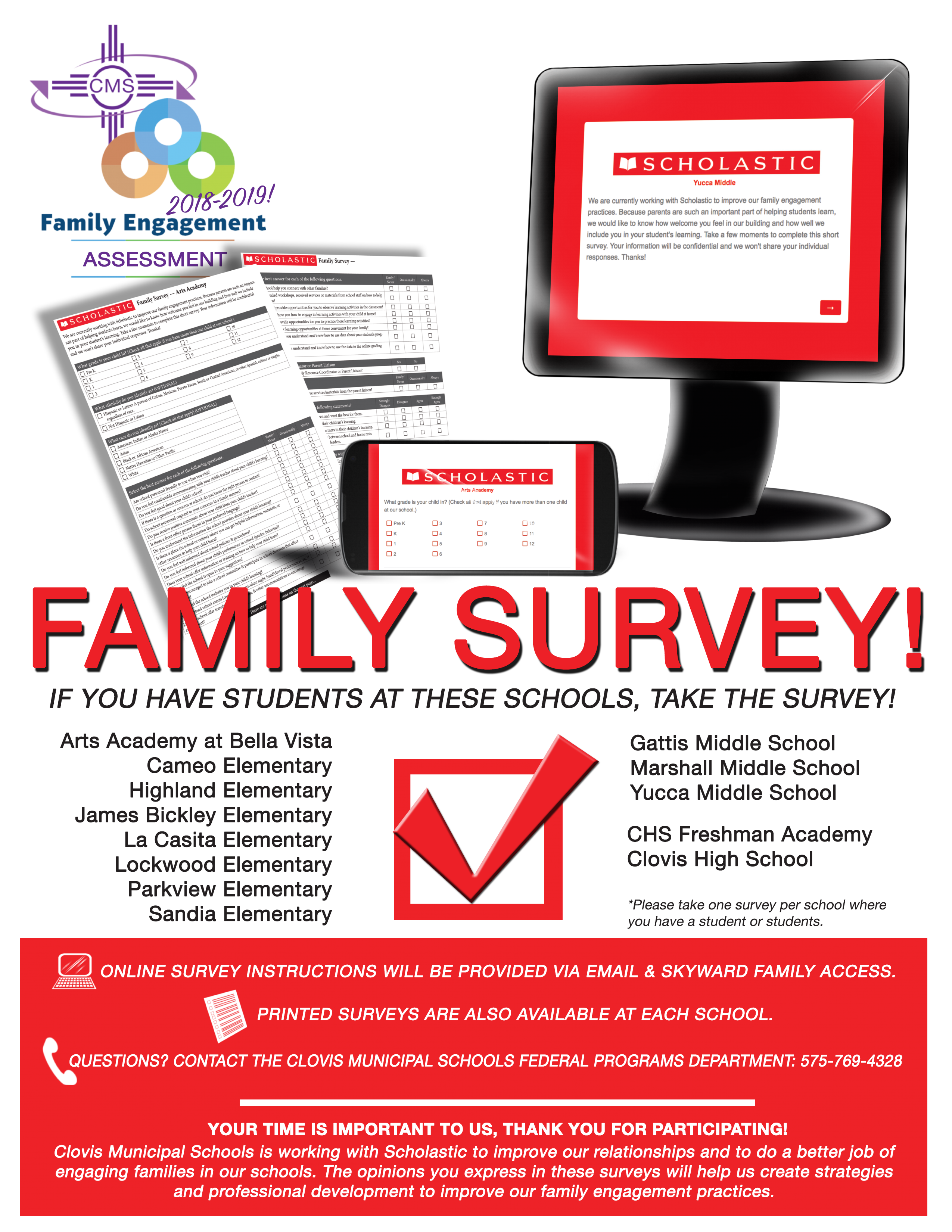 Image of text announcing Scholastic Survey