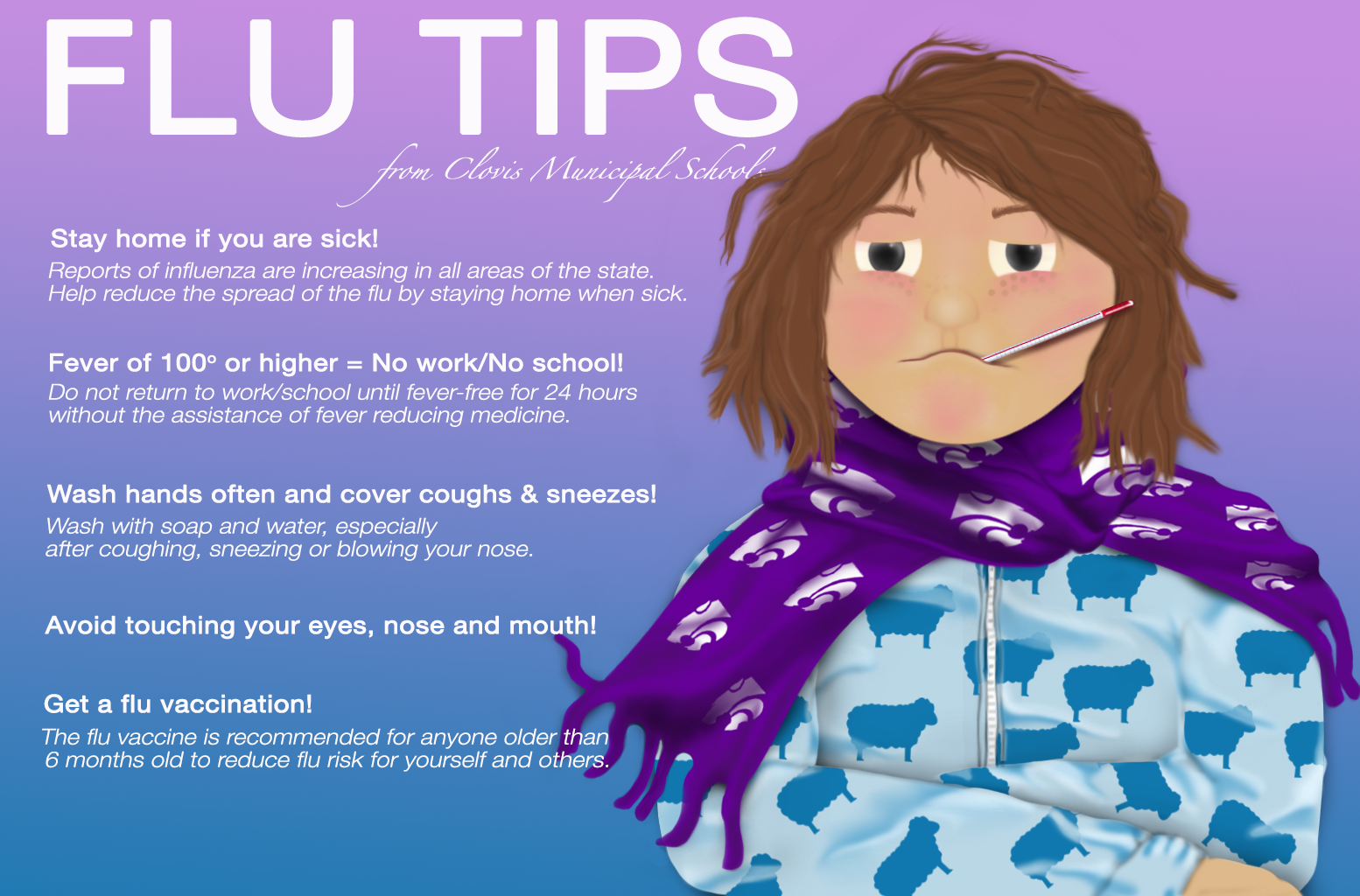 Image of sick child with text containing flu tips