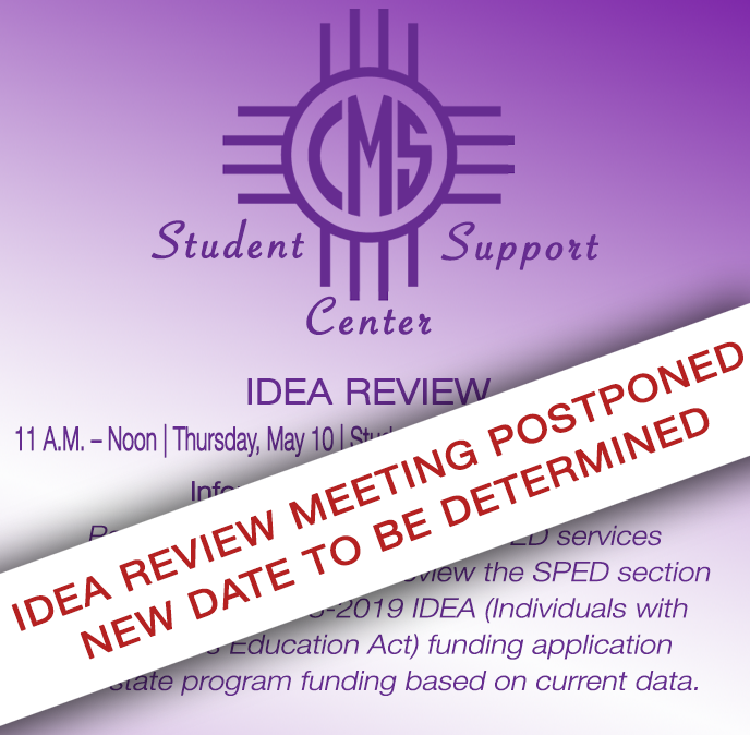 Image with text announcing postponement IDEA Review meeting