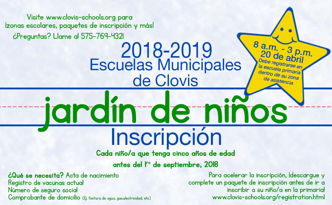 Image of kindergarten registration announcement in Spanish