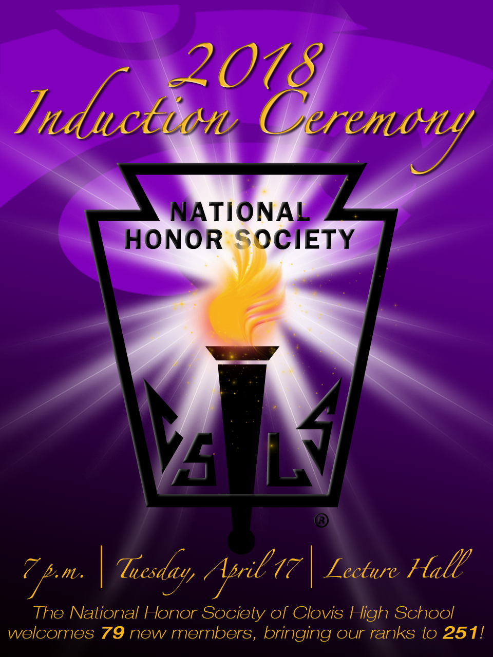 Image with text announcing NHS Induction Ceremony