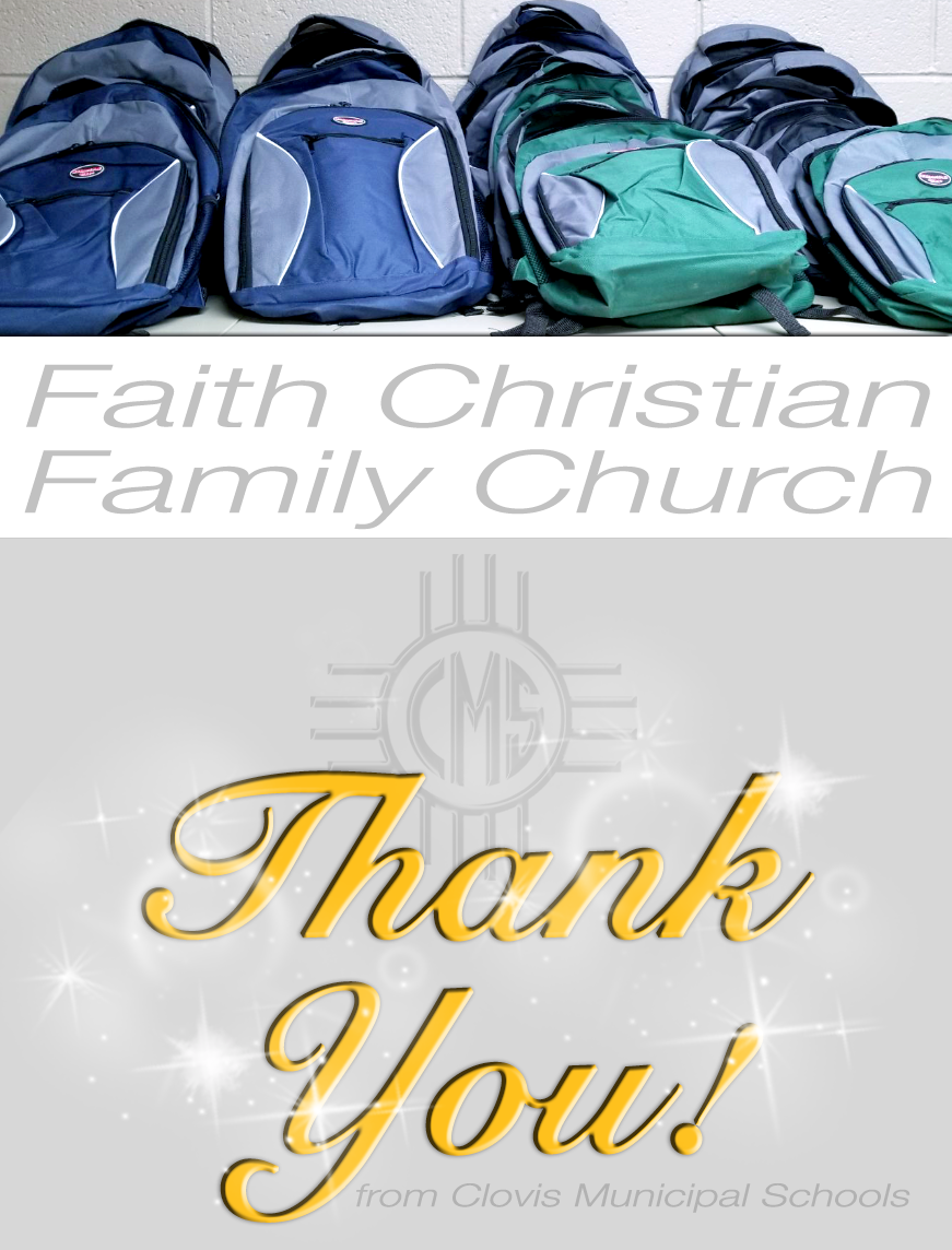 Image of text thanking Faith Christian Family Church for school supply donations