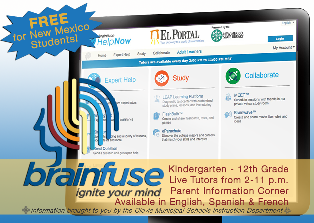 Image of computer showing Brainfuse website with text