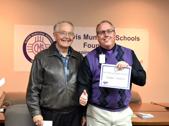 Image of Jay Brady, CHS Principal, receiving grant award