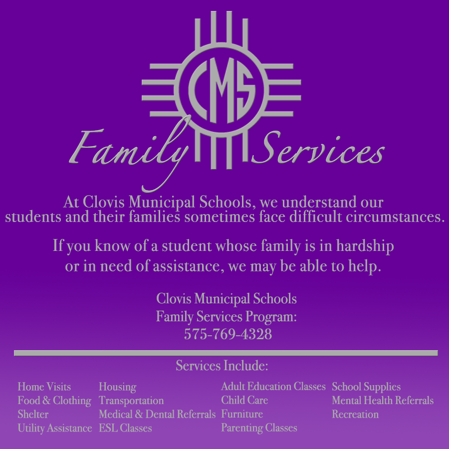 Image containing text about services offered by CMS Family Services