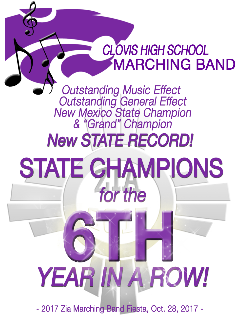 Image announcing CHS Marching Band success at 2017 Zia Festival