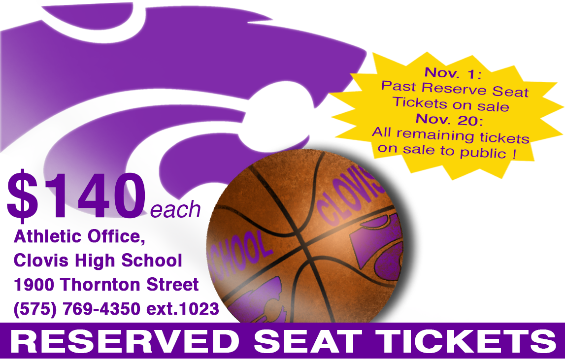 Image of wildcat and basketball with information about reserve seat ticket sales