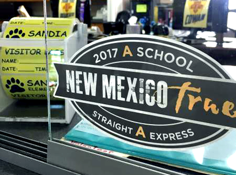 Image of Straight A Sticker in window at Sandia Elementary