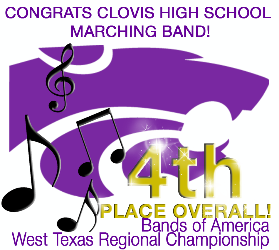 Image of wildcat and music notes congratulating CHS Band for 4th place at Bands of America competition