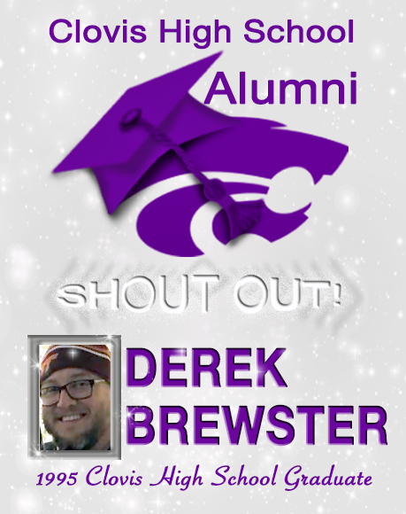 Image containing text- Alumni Shout out Derek Brewster