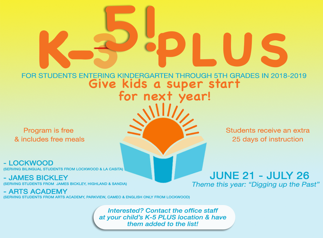 Image containing text announcing K-5 PLUS program